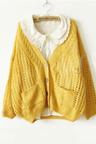 Unique Fresh Floral Crochet Cardigan - Yellow