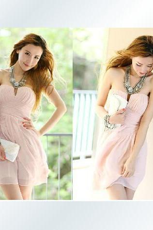 Sweet Pink Mini Chiffon Dress, Cute Chiffon Party Dresses 2015, Pink Dress