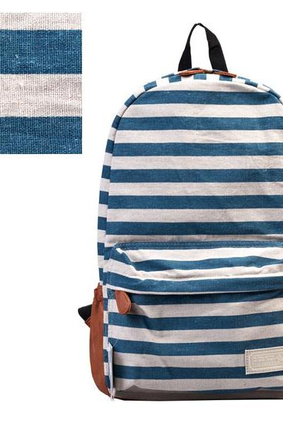 Retro Navy Style Strip Print Backpack - Blue