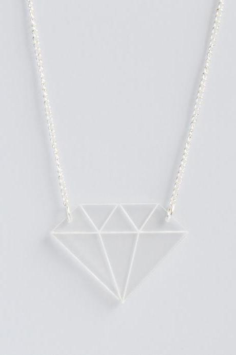 Clear laser cut acrylic diamond pendant necklace on delicate curb chain