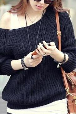 Round neck long-sleeved knit sweater AX100401ax