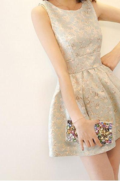 2015 new women's wear sleeveless blue embroidery jacquard slim pompon dresses