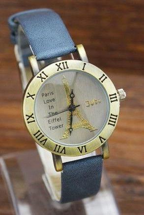 Eiffel towel face dress girl watch