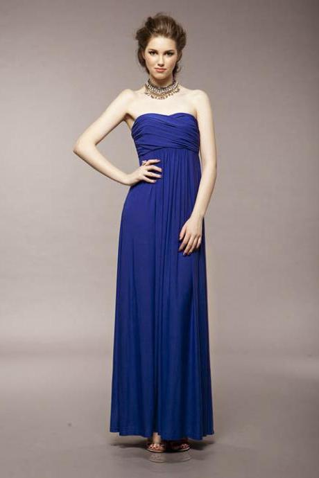 Women's Party Blue V-Neck Solid Ankle-Length Sleeveless Straight Dress