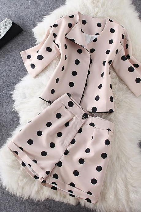 Black Dots Jacket Shorts ( Two-piece )