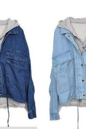 Detachable Hooded Casual Jacket Denim Two Pieces