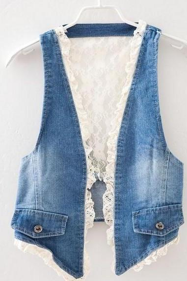 Denim Lace Vest Hollow