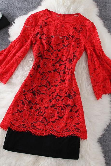 Fashion Red Lace Dress ( Two-piece )