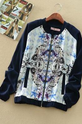 Hit Color Printing Loose Jacket