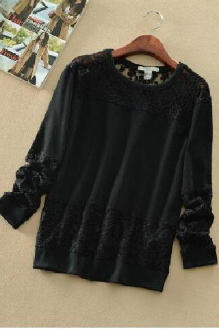 Hollow Out Lace Stitching T-shirt