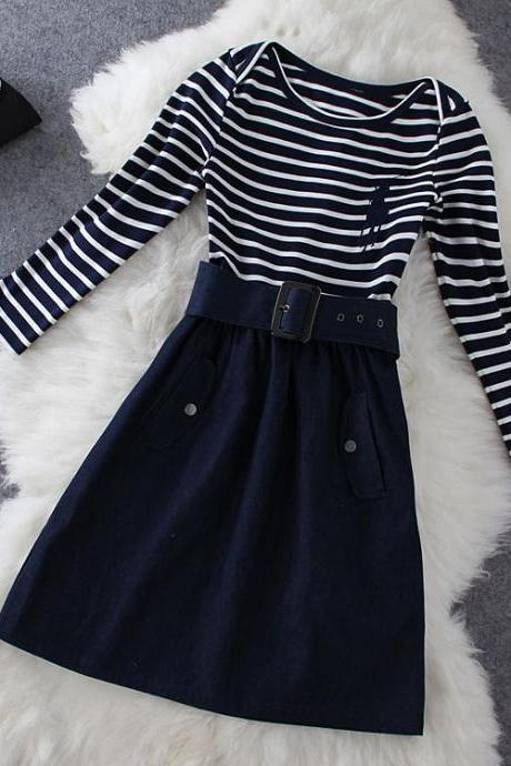 Knitted Striped Denim Dress