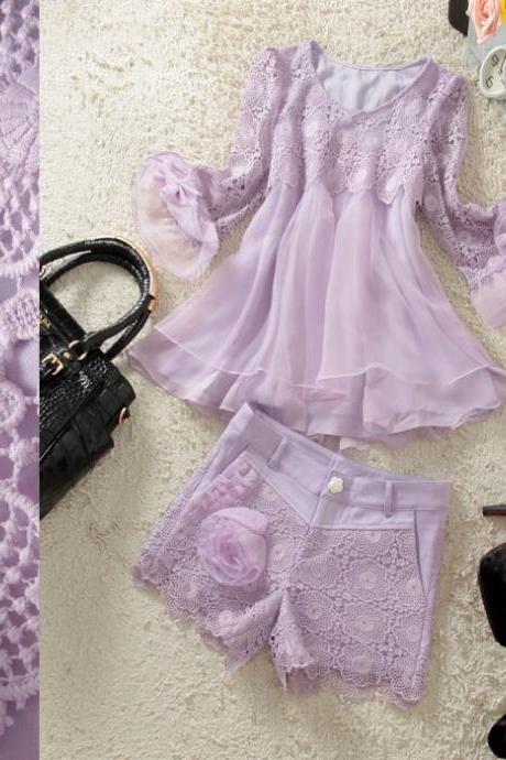 Multilayer Swing Shirt And Hook Flower Hollow Shorts Two Piece Suit