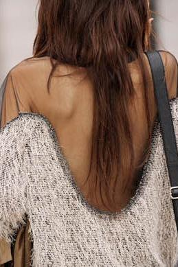 Stitching In Transparent Shoulder Halter Sweater