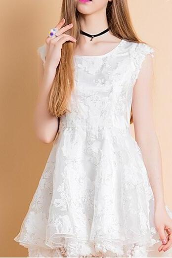 Sweet Embroidered Lace Skirt White Sleeveless Dress