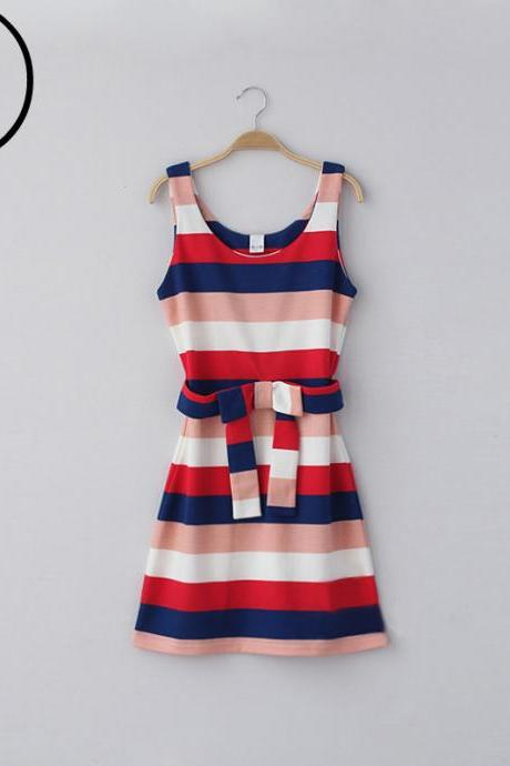 Bow Belt Striped Vest Dress