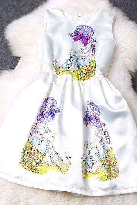 Children Pattern Solid Color Sleeveless Dress MFb