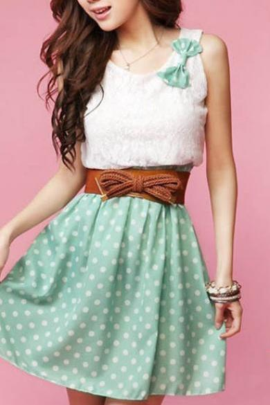 Cute Little Bow Fashion Dot Dress