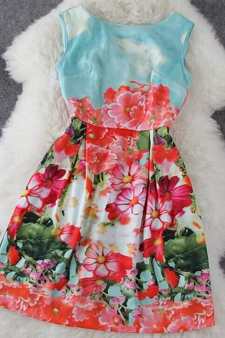 Floral Stitching Sleeveless Dress