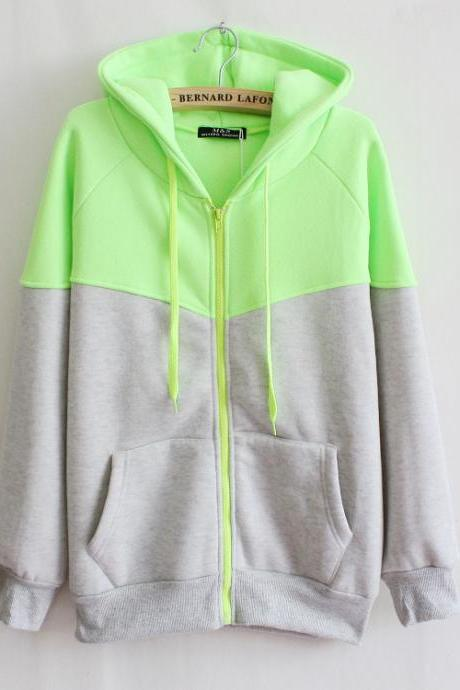 Hooded Fleece Zipper Pocket Sweater