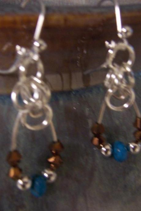 Tourquoise and Bronze Bead Sterling Silver Earrings