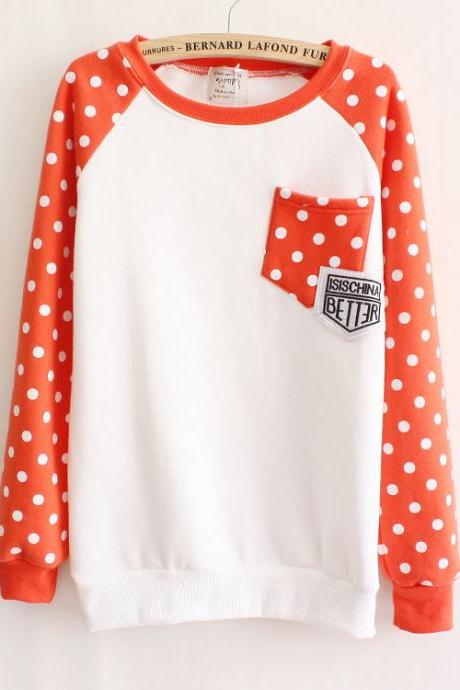 Polka Dot Long-sleeved Sweater Hedging