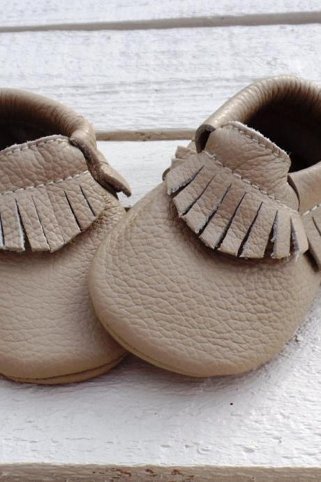 Genuine Leather Baby Moccasins Beige 0 To 6 Month