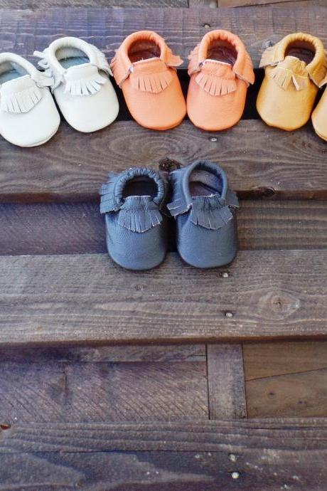 Genuine Leather Baby Moccasins Red 6 To 12 Month