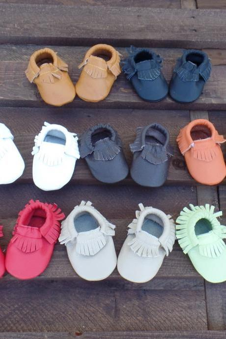 Genuine Leather Baby Moccasins Red 0 To 6 Month