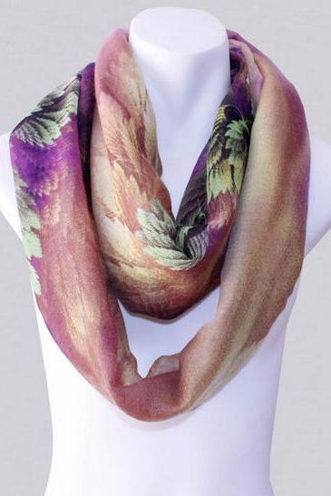 2014-Fall/Winter-New Style Scarf-Women's Scarf-Vintage Scarf-Bohemia Scarf-Feather Scarf-Floral Unique-Cotton Scarf-Purple
