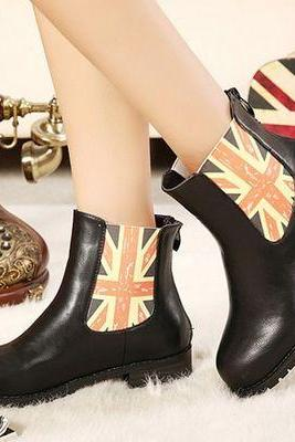Union Jack Design Black Boots
