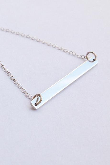 Silver bar necklace, sterling silver necklace, silver bar necklace, sterling silver, bar jewelry B009