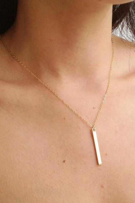 Bar necklace, gold necklace, gold filled bar necklace, bar jewelry B026