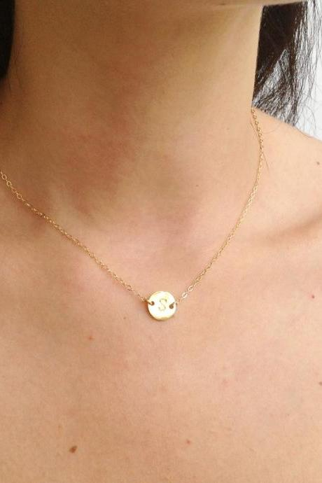 Initial necklace - gold necklace- gold initial necklace - gold filled necklace-personalized necklace - B019