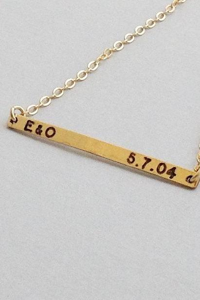 Nameplate necklace - gold necklace - personalized necklace - gold nameplate necklace - custom bar necklace - gold filled necklace B024