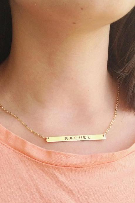 Gold necklace, personalized necklace, gold nameplate necklace, custom bar necklace, gold filled necklace B015