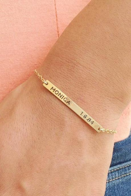 Nameplate bracelet - personalized bar bracelet - gold nameplate bracelet - custom bar bracelet - gold filled bracelet B016