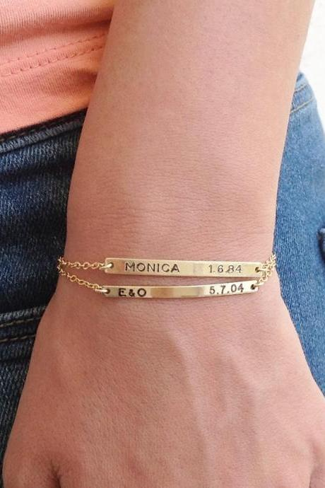 Personalized bracelet- nameplate bracelet - set of two gold nameplate bracelet - custom bar bracelets - gold filled bracelet B022