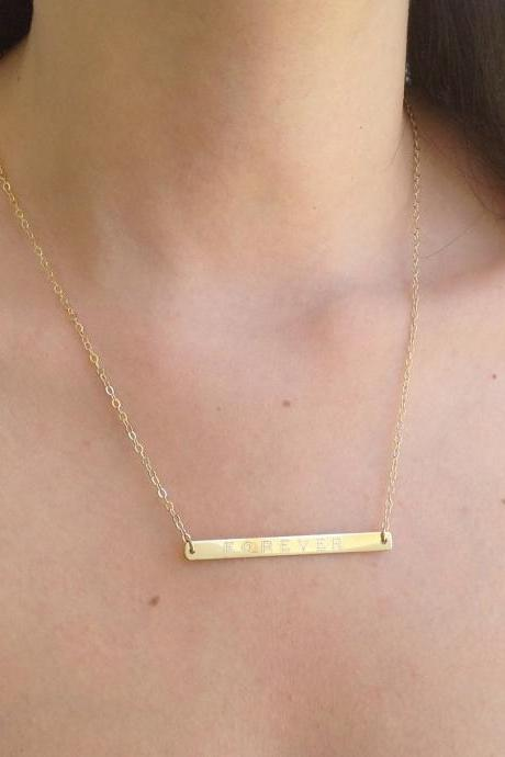 Personalized bar necklace, gold nameplate necklace, custom bar necklace, gold filled necklace B023