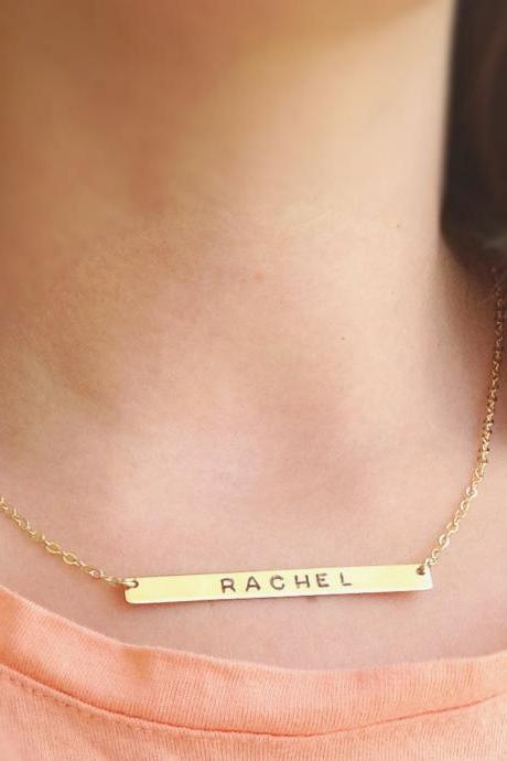 Nameplate necklace - personalized bar necklace - gold nameplate necklace - custom bar necklace - gold filled necklace B015