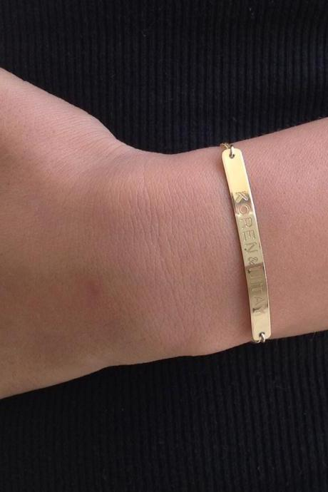 Personalized bracelet, name bracelet, gold bracelet, personalized jewelry, custom bracelet - B017
