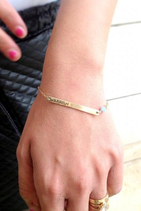 Personalized bar bracelet, gold bar bracelet and opal bead, custom bar bracelet,gold filled bracelet B006