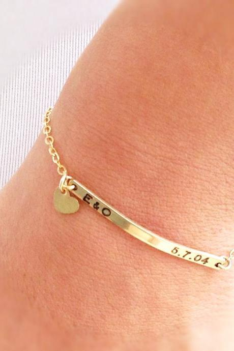 Nameplate bracelet, personalized bar bracelet, gold nameplate bracelet, custom bar bracelet, gold filled bracelet B005
