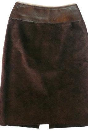 Leather Brown Suede Skirt Danier