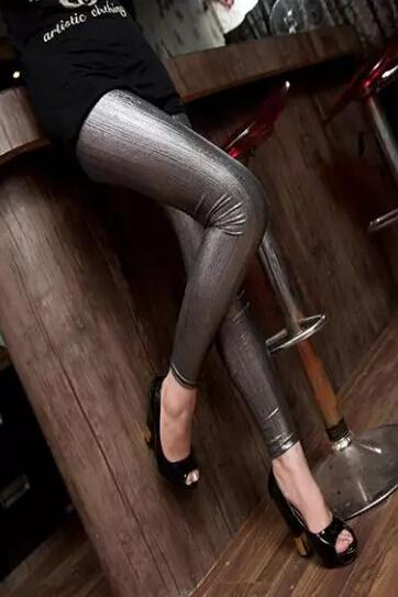 The new matte metal color flash wire Leggings punk woman slim slim solid color jeans