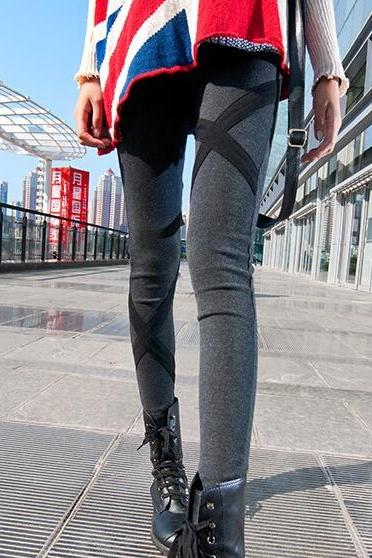 New fashion all-match ultra slim slim cotton leather leggings cross bound feet trousers
