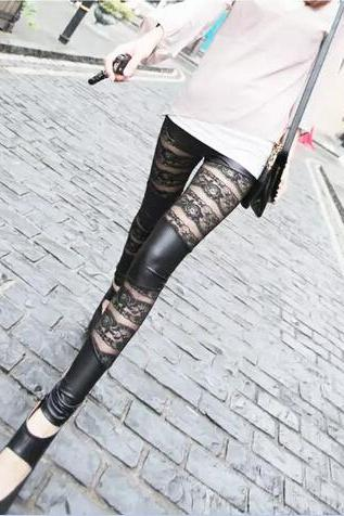The high-end lace leather bar Shuangpin nine Leggings rose Leggings long underwear