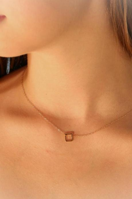 gold necklace, tiny gold necklace, simple necklace, dainty necklace, square link necklace- 017