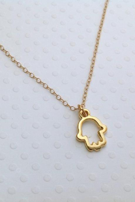 gold necklace, gold hamsa necklace, tiny hamsa, tiny necklace, everyday gold necklace, luck 007