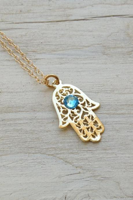 Gold necklace, gold hamsa necklace, hamsa jewelry, casual necklace, birthstone necklace -D12
