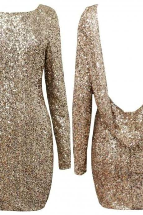 Sexy Backless Metallic Gold Long Sleeve Party Dress